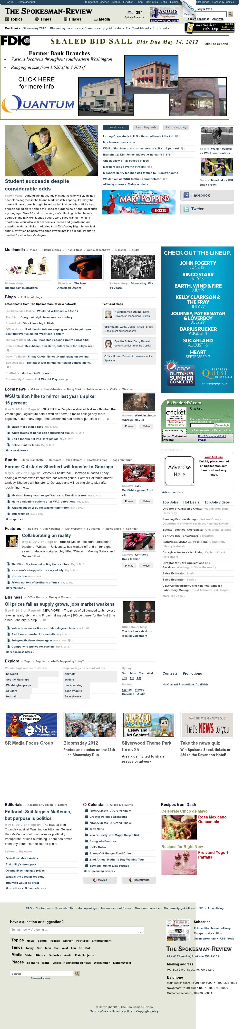The (Spokane) Spokesman-Review at Saturday May 5, 2012, 10:12 a.m. UTC